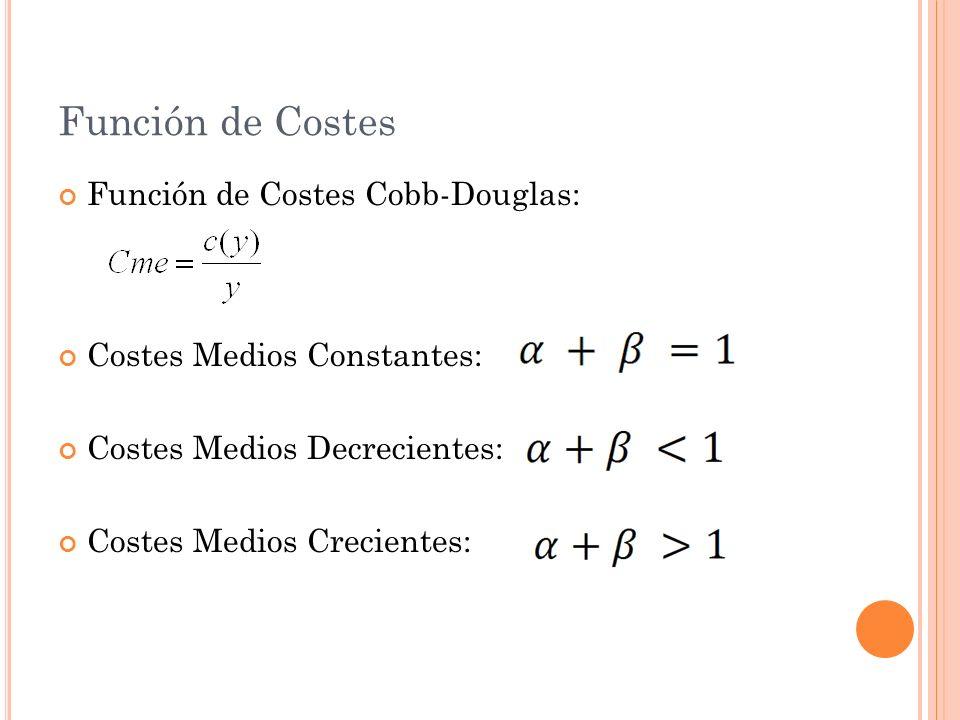 Función de Costes Función de Costes Cobb-Douglas: Costes Medios Constantes: Costes Medios Decrecientes: Costes Medios Crecientes: