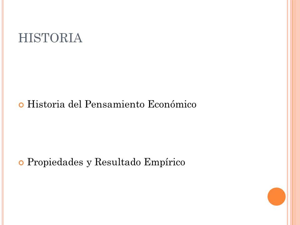 HISTORIA Historia del Pensamiento Económico Propiedades y Resultado Empírico