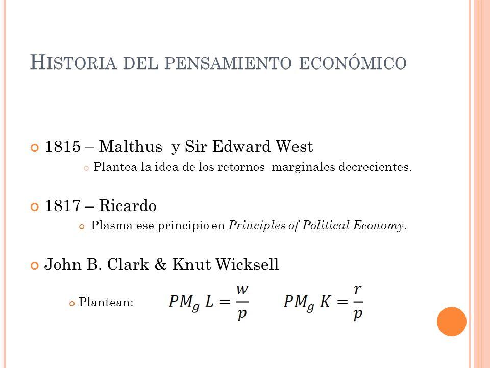 H ISTORIA DEL PENSAMIENTO ECONÓMICO 1815 – Malthus y Sir Edward West Plantea la idea de los retornos marginales decrecientes. 1817 – Ricardo Plasma es