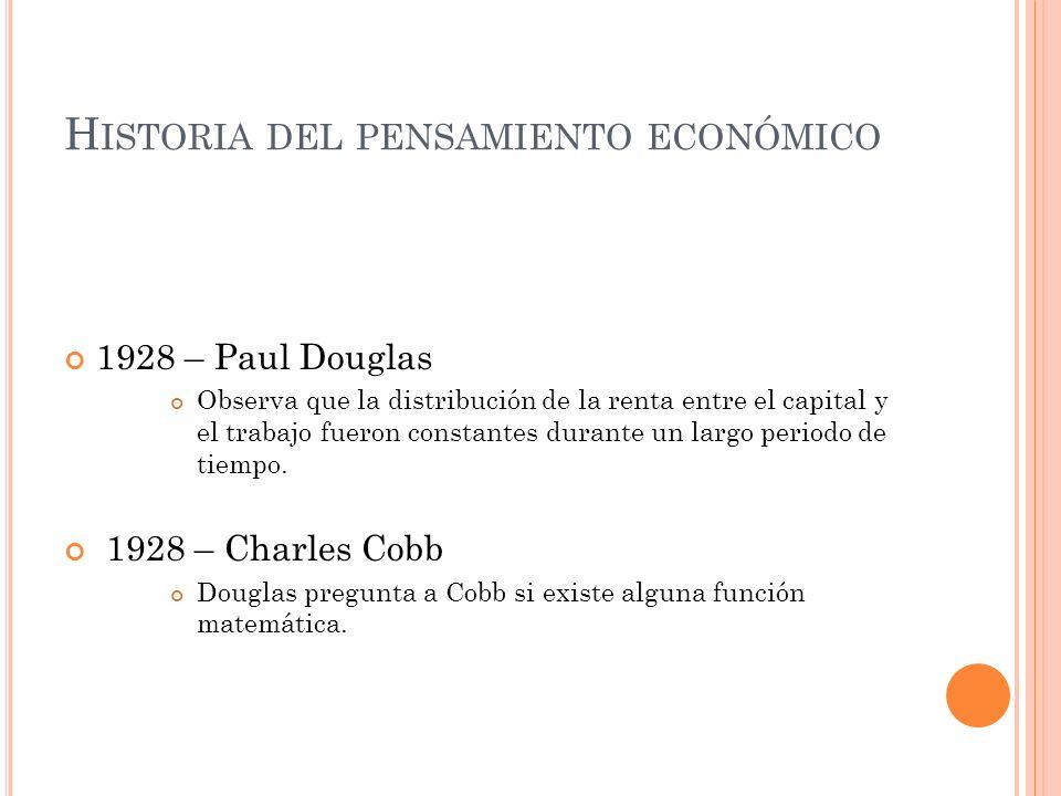 H ISTORIA DEL PENSAMIENTO ECONÓMICO 1928 – Paul Douglas Observa que la distribución de la renta entre el capital y el trabajo fueron constantes durant