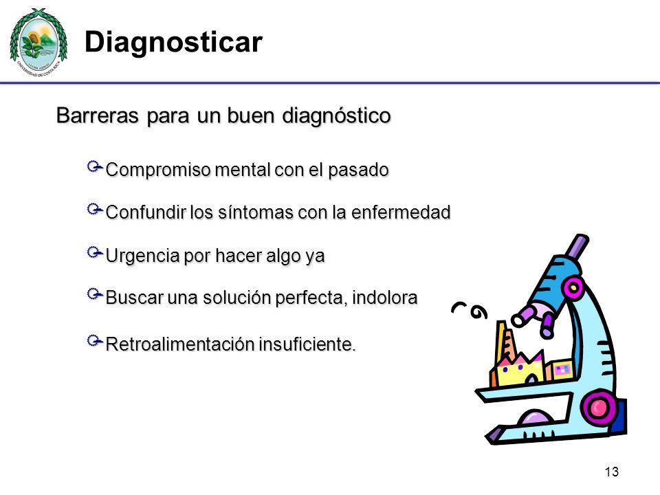 Diagnosticar 13 Barreras para un buen diagnóstico Compromiso mental con el pasado Compromiso mental con el pasado Confundir los síntomas con la enferm
