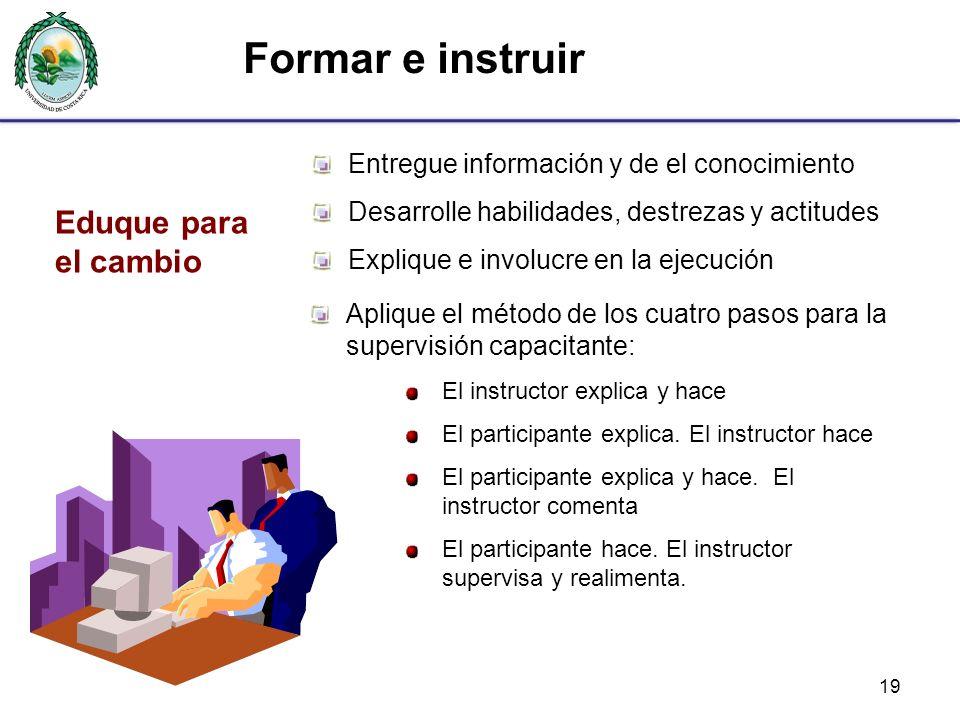 19 Entregue información y de el conocimiento Desarrolle habilidades, destrezas y actitudes Explique e involucre en la ejecución Eduque para el cambio