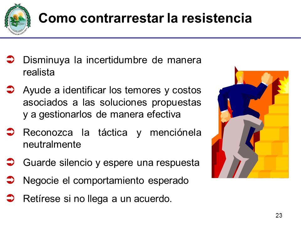 Como contrarrestar la resistencia 23 Disminuya la incertidumbre de manera realista Ayude a identificar los temores y costos asociados a las soluciones