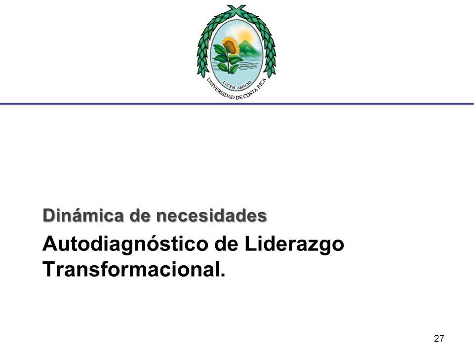Autodiagnóstico de Liderazgo Transformacional. Dinámica de necesidades 27