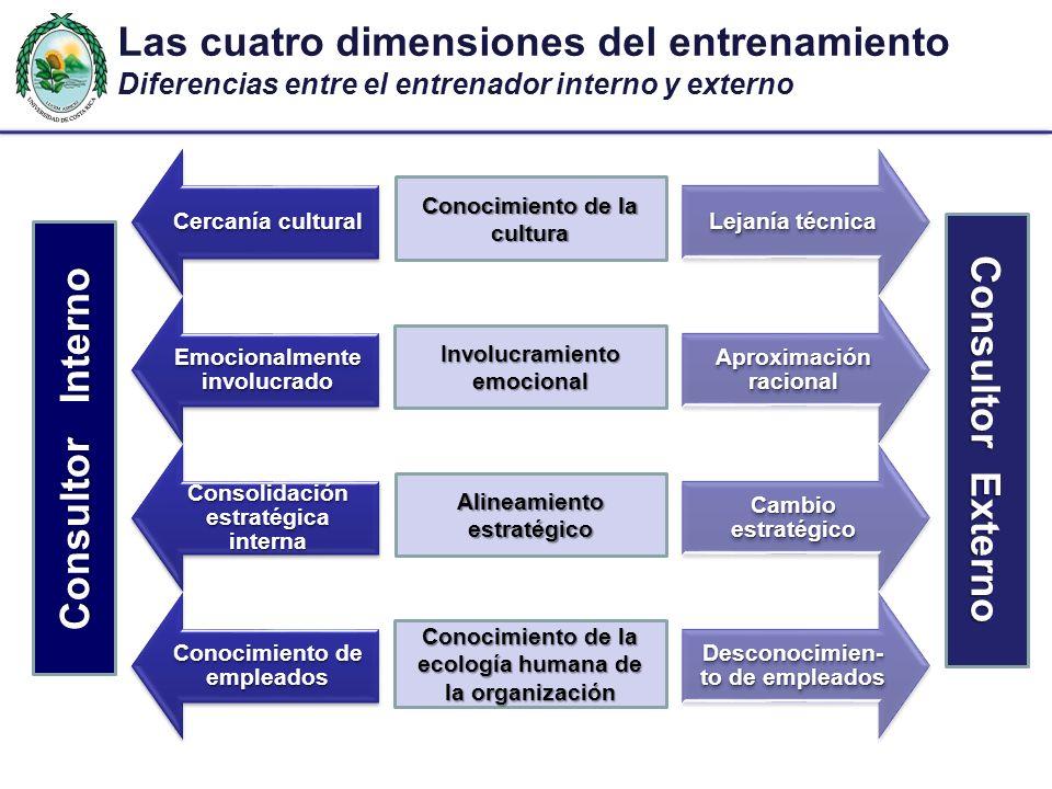 Consolidación estratégica interna Cambio estratégico Cercanía cultural Lejanía técnica Las cuatro dimensiones del entrenamiento Diferencias entre el e