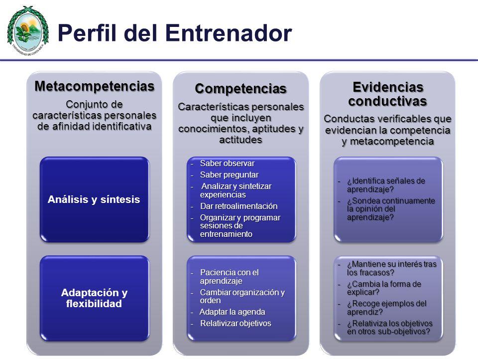 Perfil del EntrenadorMetacompetencias Conjunto de características personales de afinidad identificativa Análisis y síntesis Adaptación y flexibilidad Competencias Características personales que incluyen conocimientos, aptitudes y actitudes - Saber observar - Saber preguntar - Analizar y sintetizar experiencias - Dar retroalimentación - Organizar y programar sesiones de entrenamiento - Paciencia con el aprendizaje - Cambiar organización y orden - Adaptar la agenda - Relativizar objetivos Evidencias conductivas Conductas verificables que evidencian la competencia y metacompetencia - ¿Identifica señales de aprendizaje.