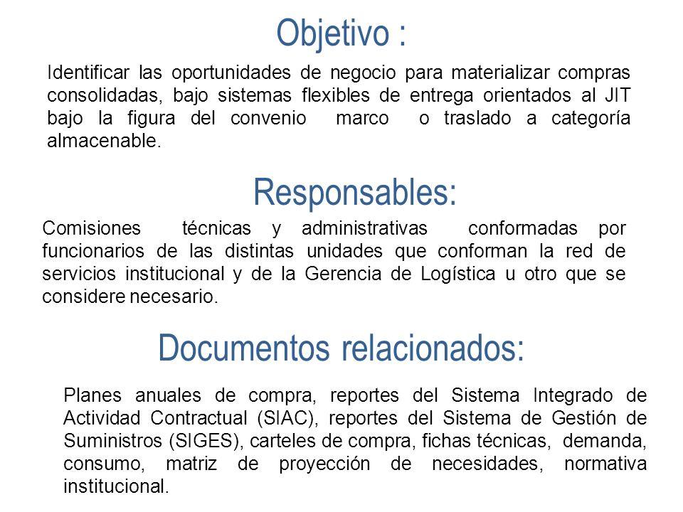 Objetivo : Identificar las oportunidades de negocio para materializar compras consolidadas, bajo sistemas flexibles de entrega orientados al JIT bajo