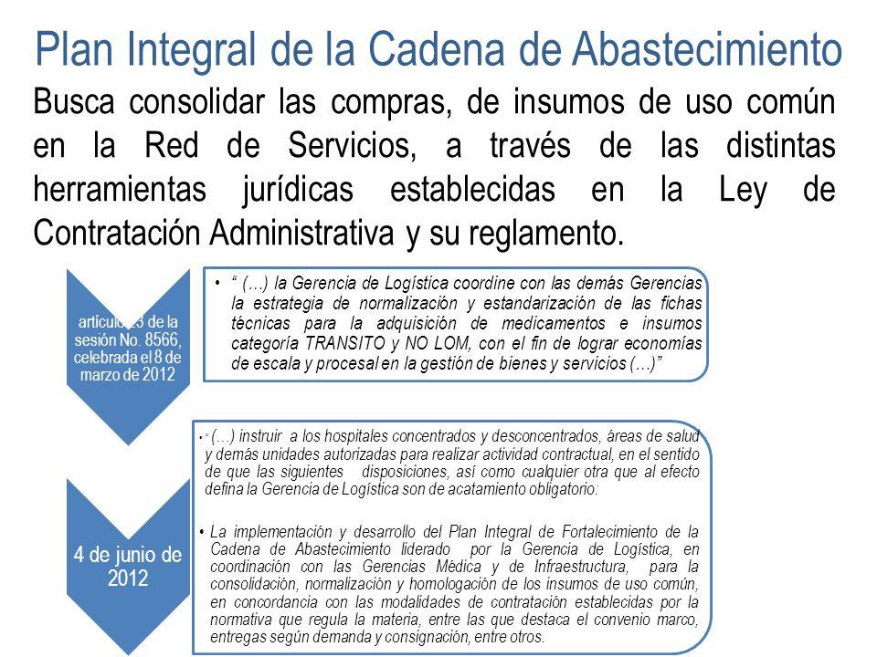Plan Integral de la Cadena de Abastecimiento Busca consolidar las compras, de insumos de uso común en la Red de Servicios, a través de las distintas h