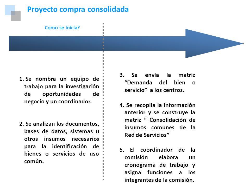 Marco Normativo Proyecto compra consolidada Como se inicia? 1. Se nombra un equipo de trabajo para la investigación de oportunidades de negocio y un c