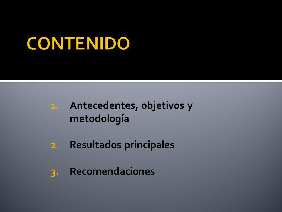 1.Antecedentes, objetivos y metodología 2.Resultados principales 3.Recomendaciones