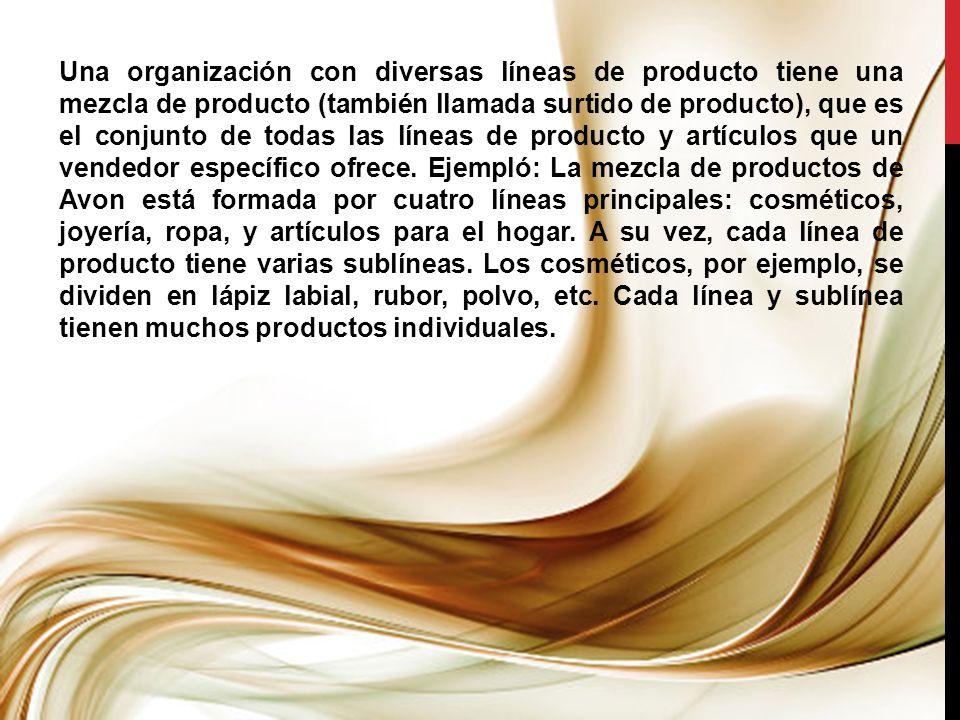 Una organización con diversas líneas de producto tiene una mezcla de producto (también llamada surtido de producto), que es el conjunto de todas las l