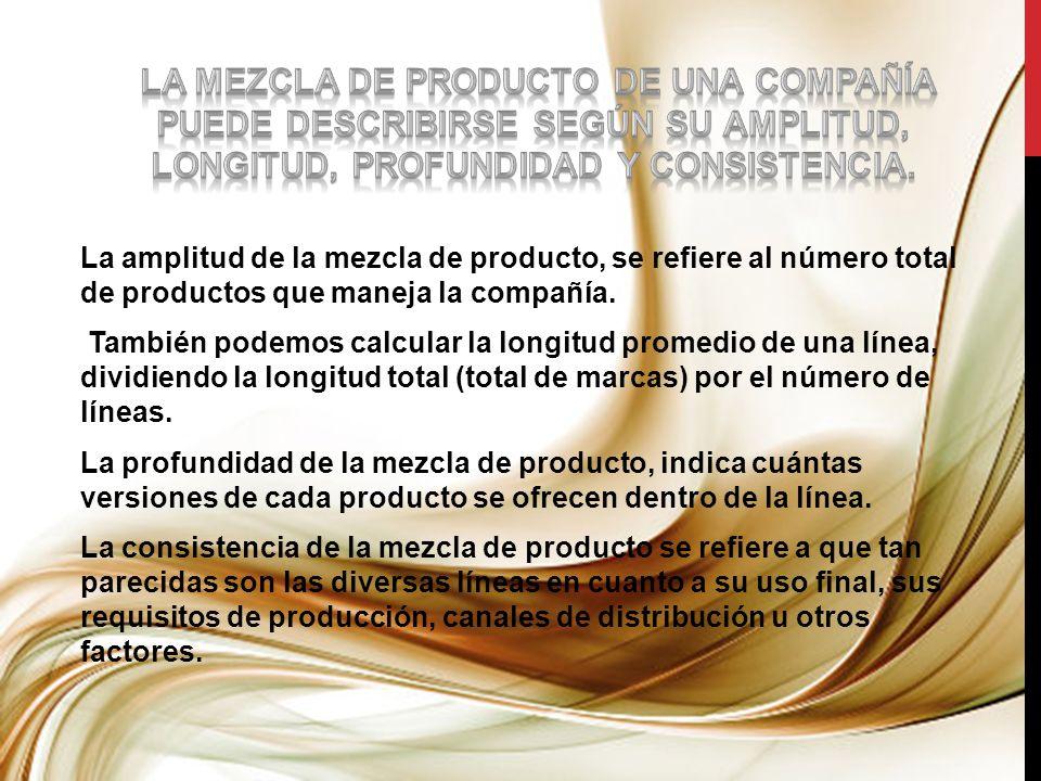 La amplitud de la mezcla de producto, se refiere al número total de productos que maneja la compañía. También podemos calcular la longitud promedio de