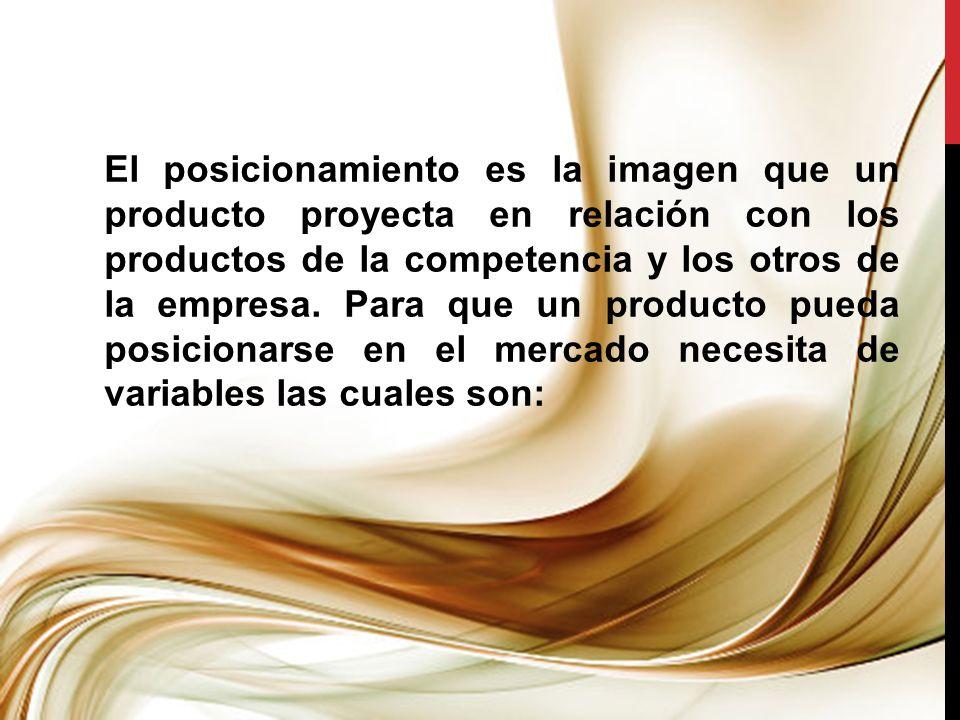 El posicionamiento es la imagen que un producto proyecta en relación con los productos de la competencia y los otros de la empresa. Para que un produc