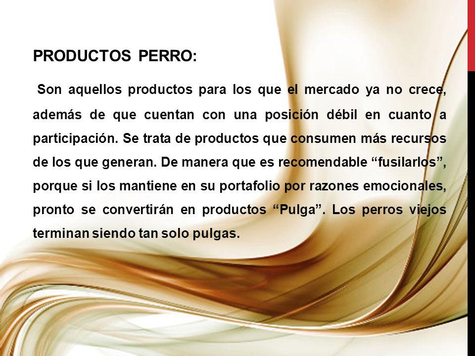 PRODUCTOS PERRO: Son aquellos productos para los que el mercado ya no crece, además de que cuentan con una posición débil en cuanto a participación. S