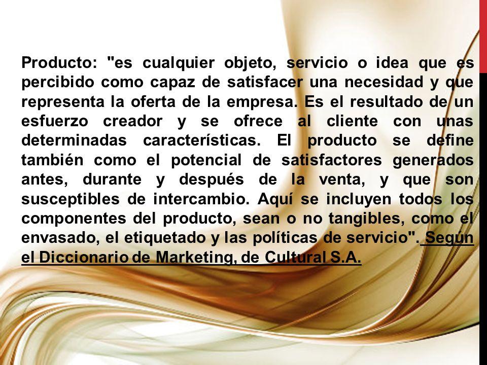 PRODUCTO DE ESTABILIDAD: Es aquel producto que permite a la empresa evitar las fluctuaciones en ventas que podría estar experimentando.
