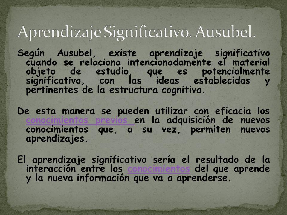 Según Ausubel, existe aprendizaje significativo cuando se relaciona intencionadamente el material objeto de estudio, que es potencialmente significativo, con las ideas establecidas y pertinentes de la estructura cognitiva.