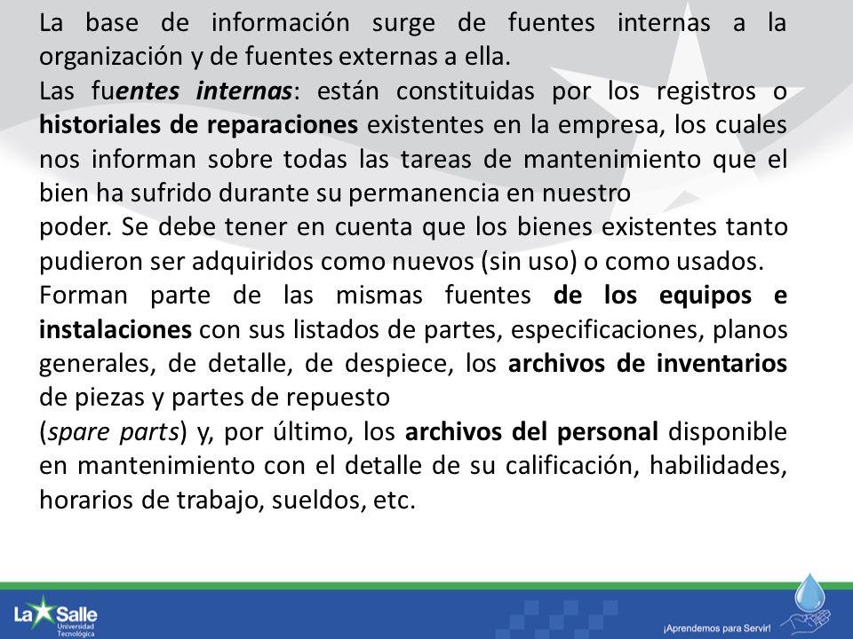 La base de información surge de fuentes internas a la organización y de fuentes externas a ella. Las fuentes internas: están constituidas por los regi