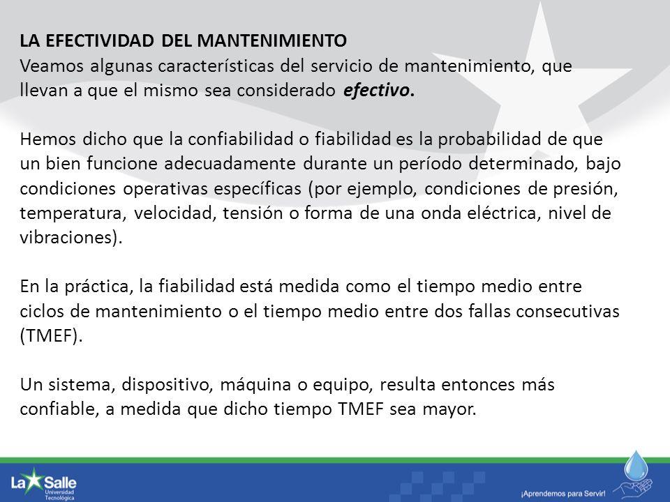 LA EFECTIVIDAD DEL MANTENIMIENTO Veamos algunas características del servicio de mantenimiento, que llevan a que el mismo sea considerado efectivo. Hem
