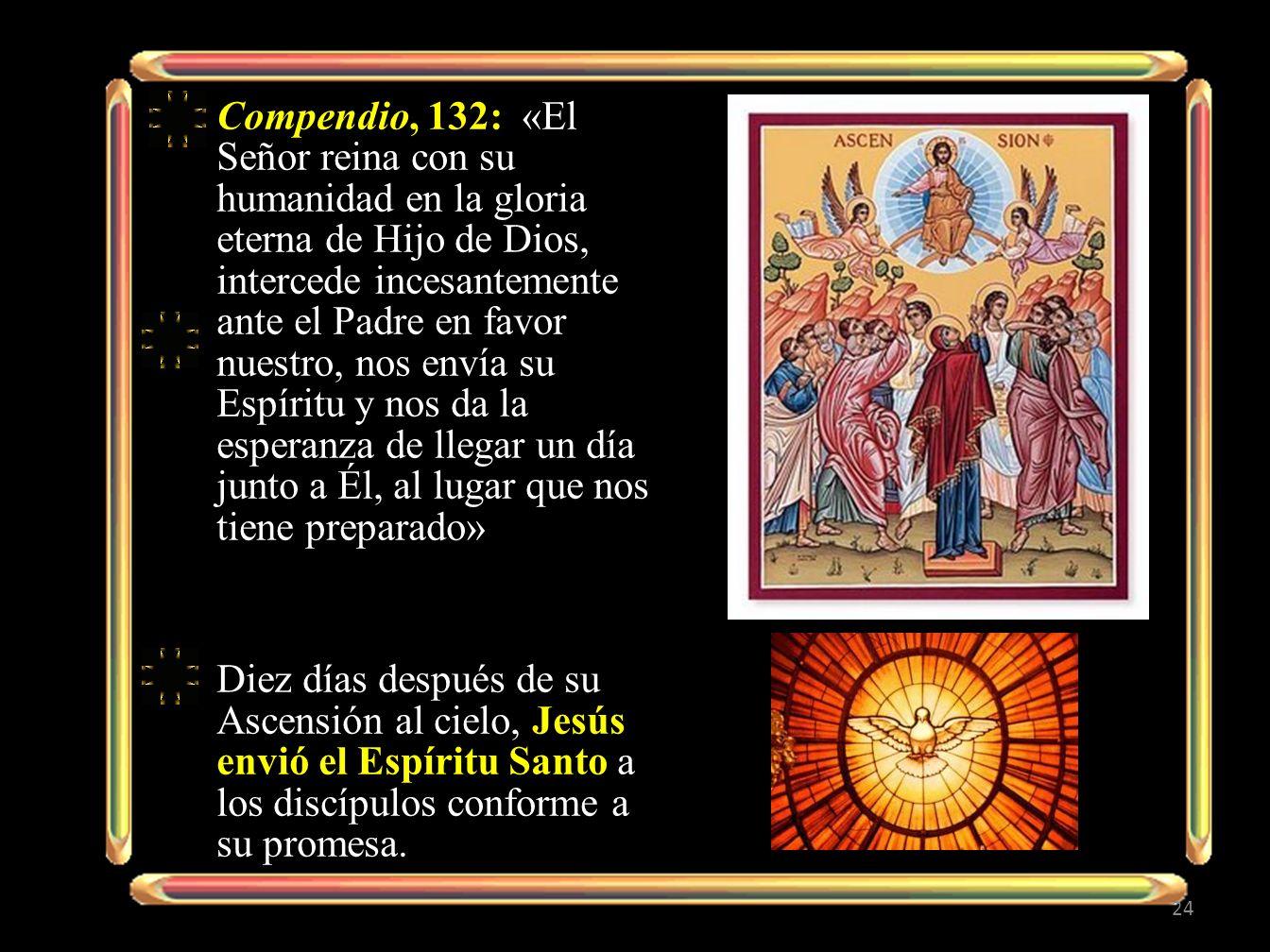 Compendio, 132: «El Señor reina con su humanidad en la gloria eterna de Hijo de Dios, intercede incesantemente ante el Padre en favor nuestro, nos env