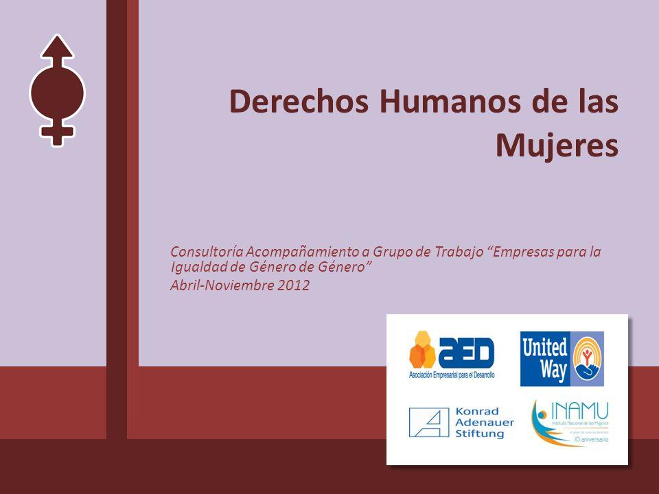 Derechos Humanos de las Mujeres Consultoría Acompañamiento a Grupo de Trabajo Empresas para la Igualdad de Género de Género Abril-Noviembre 2012