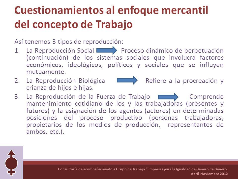 Consultoría de acompañamiento a Grupo de Trabajo Empresas para la Igualdad de Género de Género. Abril-Noviembre 2012 Cuestionamientos al enfoque merca