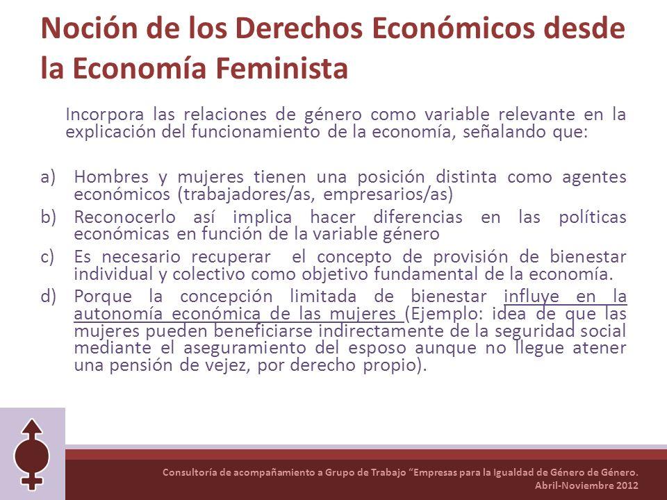 Consultoría de acompañamiento a Grupo de Trabajo Empresas para la Igualdad de Género de Género. Abril-Noviembre 2012 Noción de los Derechos Económicos