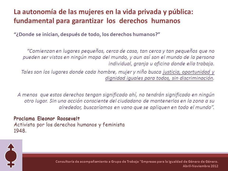 Consultoría de acompañamiento a Grupo de Trabajo Empresas para la Igualdad de Género de Género. Abril-Noviembre 2012 La autonomía de las mujeres en la