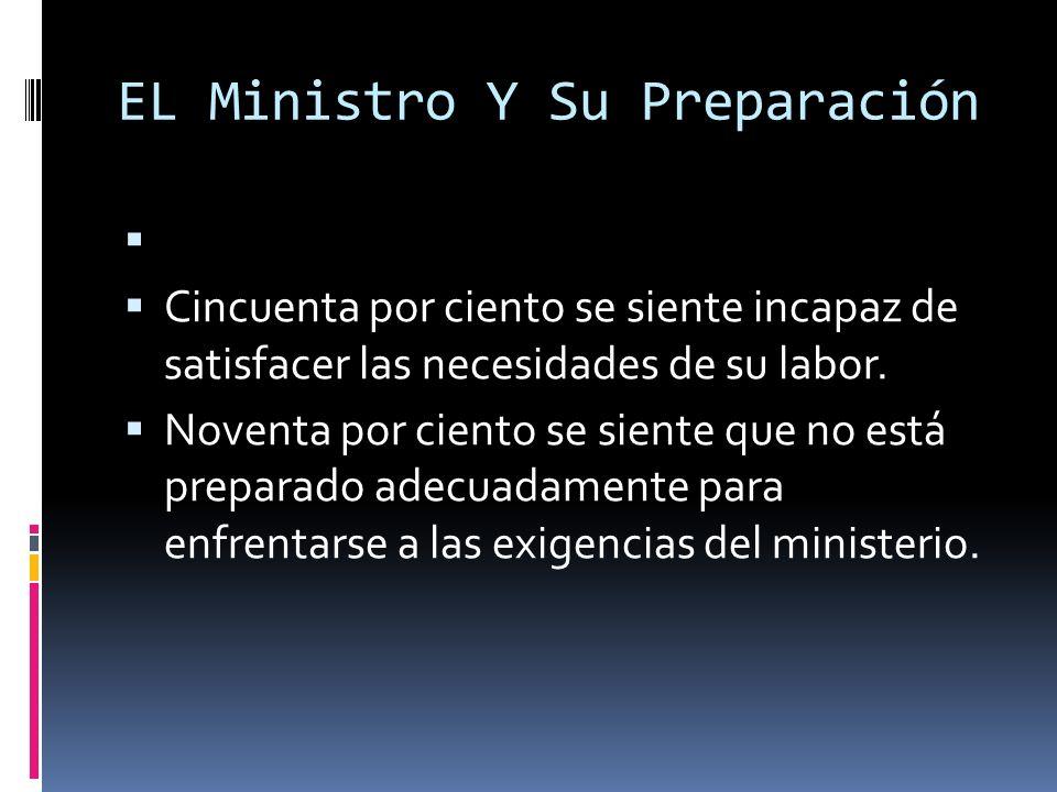 EL Ministro Y Su Preparación Cincuenta por ciento se siente incapaz de satisfacer las necesidades de su labor.