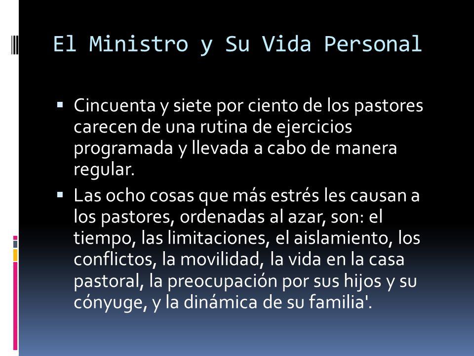 El Ministro y Su Vida Personal Cincuenta y siete por ciento de los pastores carecen de una rutina de ejercicios programada y llevada a cabo de manera regular.