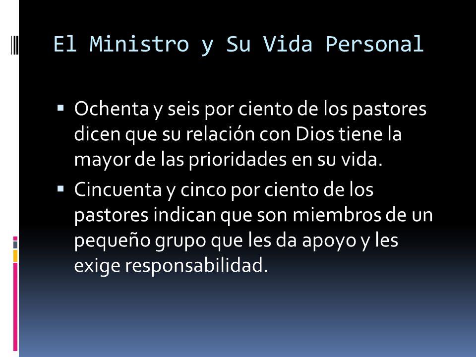 El Ministro y Su Vida Personal Ochenta y seis por ciento de los pastores dicen que su relación con Dios tiene la mayor de las prioridades en su vida.