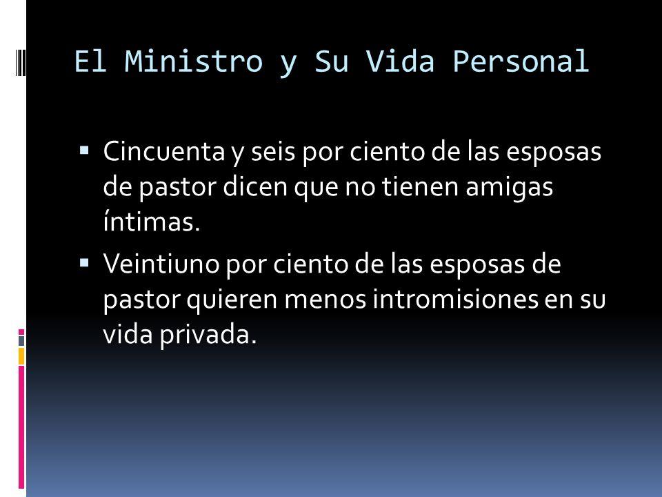 El Ministro y Su Vida Personal Cincuenta y seis por ciento de las esposas de pastor dicen que no tienen amigas íntimas.