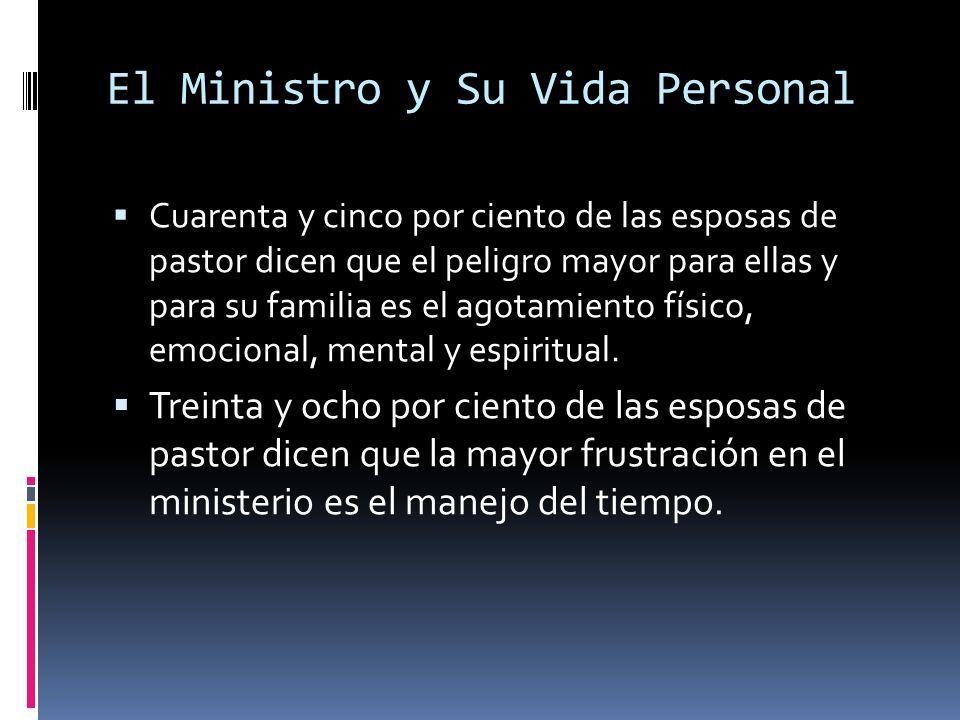 El Ministro y Su Vida Personal Cuarenta y cinco por ciento de las esposas de pastor dicen que el peligro mayor para ellas y para su familia es el agotamiento físico, emocional, mental y espiritual.