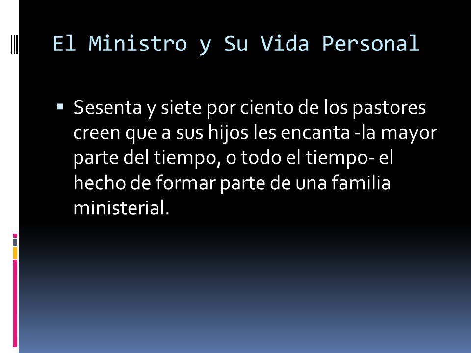 El Ministro y Su Vida Personal Sesenta y siete por ciento de los pastores creen que a sus hijos les encanta -la mayor parte del tiempo, o todo el tiempo- el hecho de formar parte de una familia ministerial.