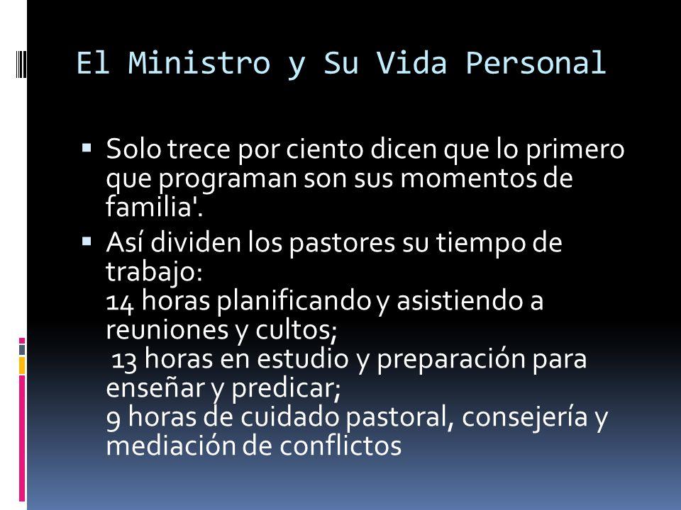El Ministro y Su Vida Personal Solo trece por ciento dicen que lo primero que programan son sus momentos de familia .