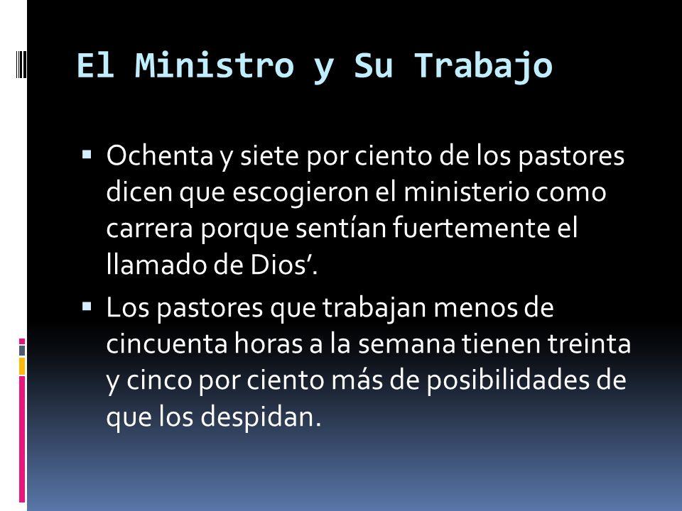 El Ministro y Su Trabajo Ochenta y siete por ciento de los pastores dicen que escogieron el ministerio como carrera porque sentían fuertemente el llamado de Dios.