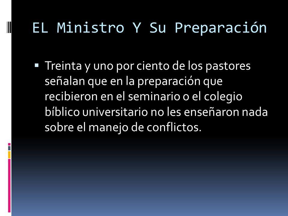 EL Ministro Y Su Preparación Treinta y uno por ciento de los pastores señalan que en la preparación que recibieron en el seminario o el colegio bíblico universitario no les enseñaron nada sobre el manejo de conflictos.