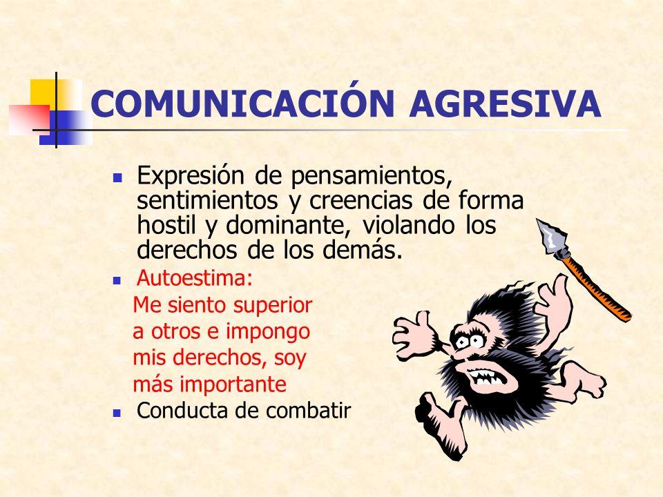 COMUNICACIÓN AGRESIVA Expresión de pensamientos, sentimientos y creencias de forma hostil y dominante, violando los derechos de los demás. Autoestima: