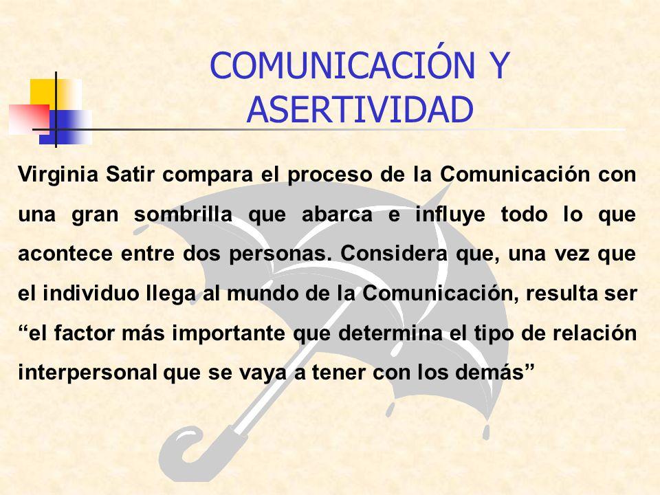 Virginia Satir compara el proceso de la Comunicación con una gran sombrilla que abarca e influye todo lo que acontece entre dos personas. Considera qu