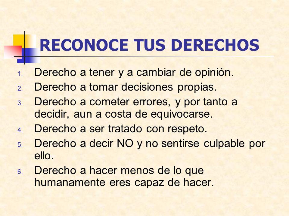 RECONOCE TUS DERECHOS 1. Derecho a tener y a cambiar de opinión. 2. Derecho a tomar decisiones propias. 3. Derecho a cometer errores, y por tanto a de