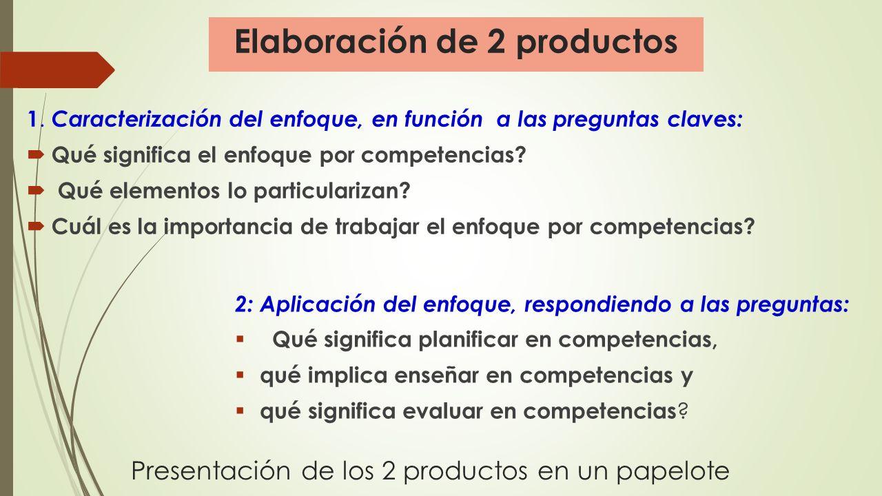 Elaboración de 2 productos 1. Caracterización del enfoque, en función a las preguntas claves: Qué significa el enfoque por competencias? Qué elementos