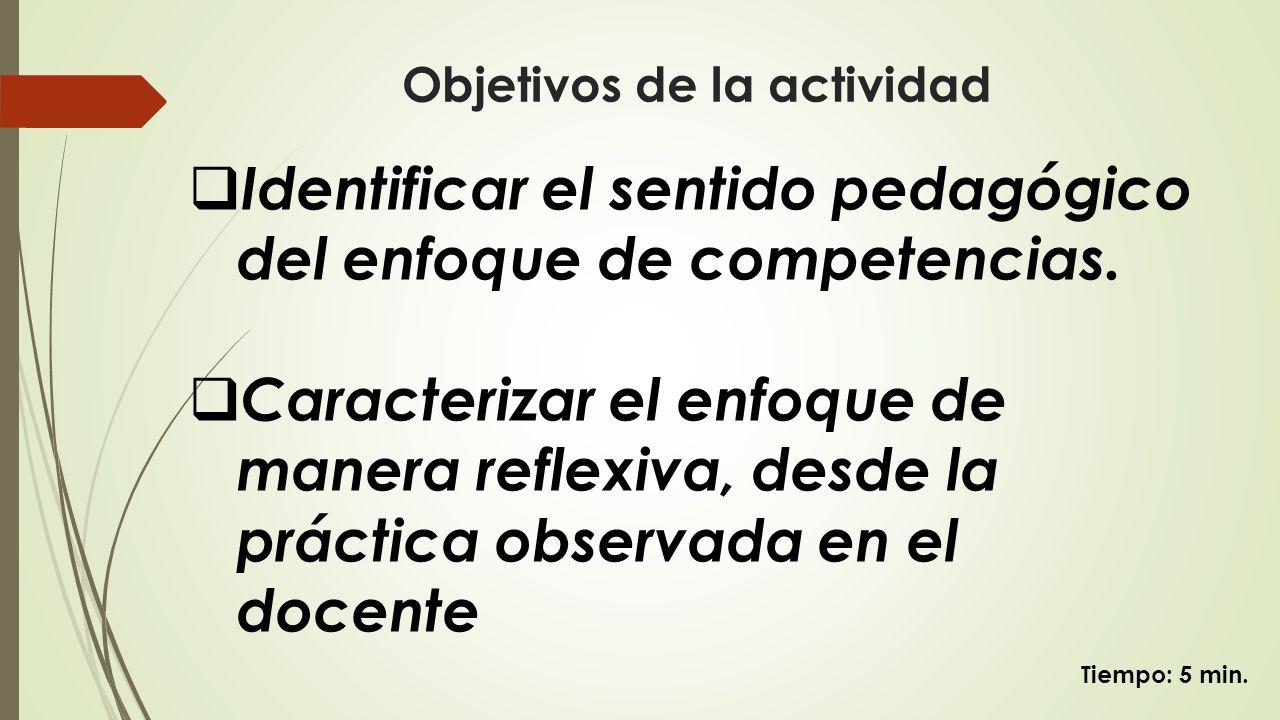 Objetivos de la actividad Identificar el sentido pedagógico del enfoque de competencias. Caracterizar el enfoque de manera reflexiva, desde la práctic