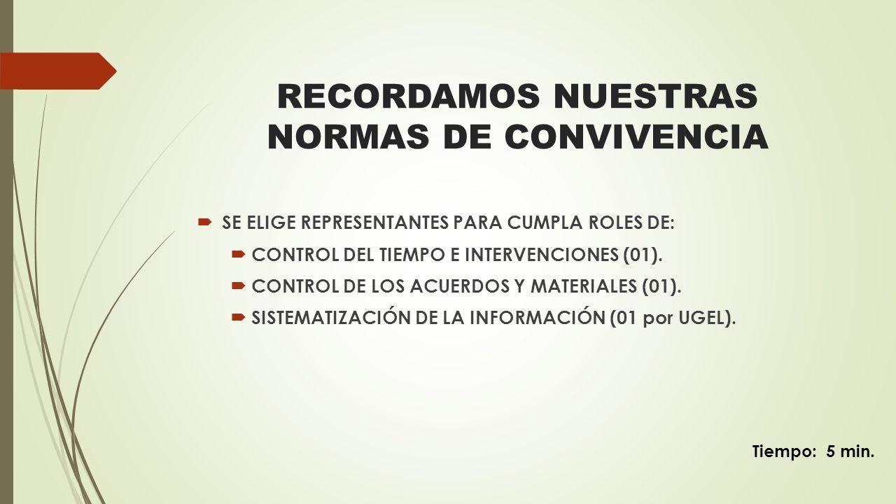RECORDAMOS NUESTRAS NORMAS DE CONVIVENCIA SE ELIGE REPRESENTANTES PARA CUMPLA ROLES DE: CONTROL DEL TIEMPO E INTERVENCIONES (01). CONTROL DE LOS ACUER