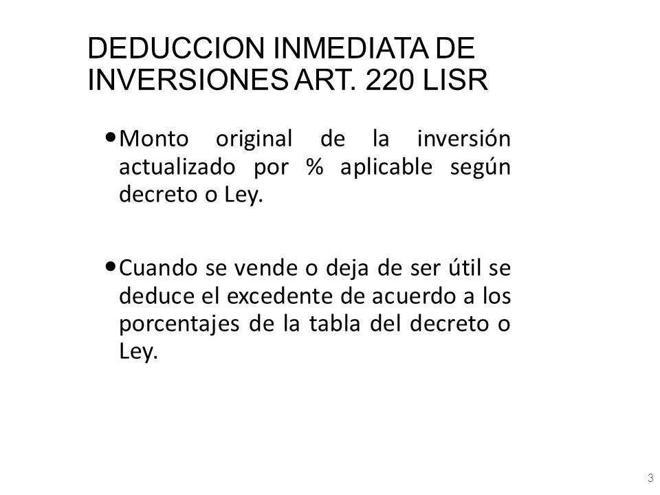 DEDUCCION INMEDIATA DE INVERSIONES ART. 220 LISR Monto original de la inversión actualizado por % aplicable según decreto o Ley. Cuando se vende o dej