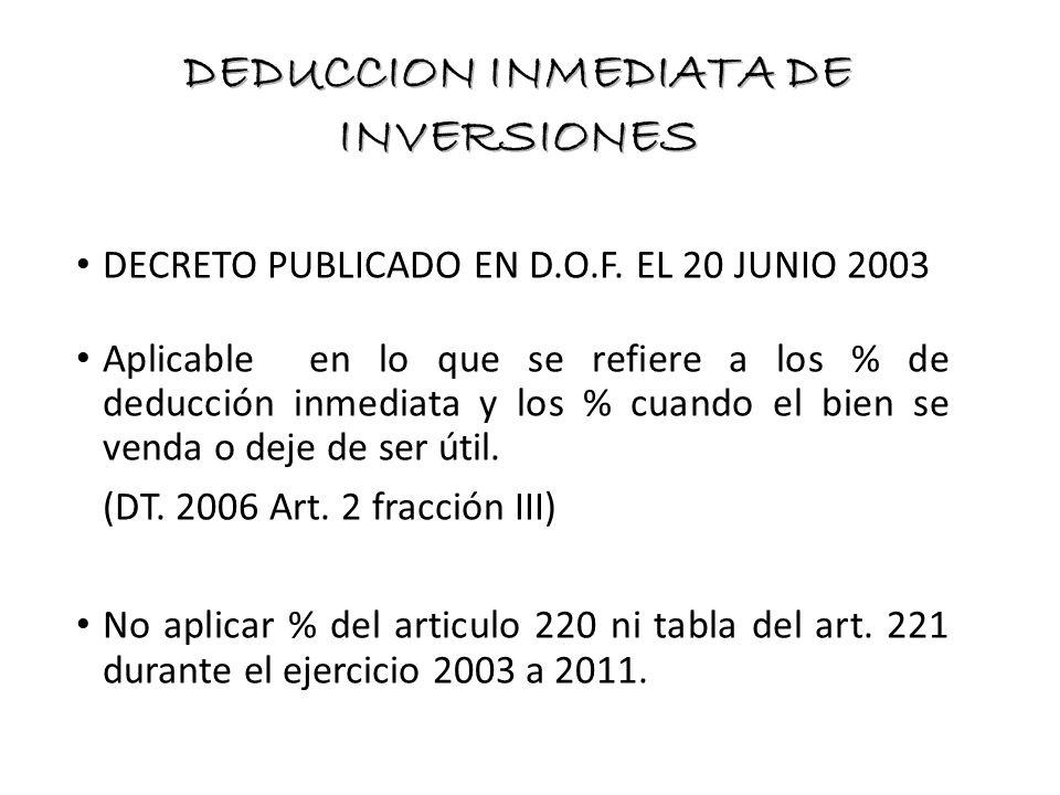 DECRETO PUBLICADO EN D.O.F. EL 20 JUNIO 2003 Aplicable en lo que se refiere a los % de deducción inmediata y los % cuando el bien se venda o deje de s