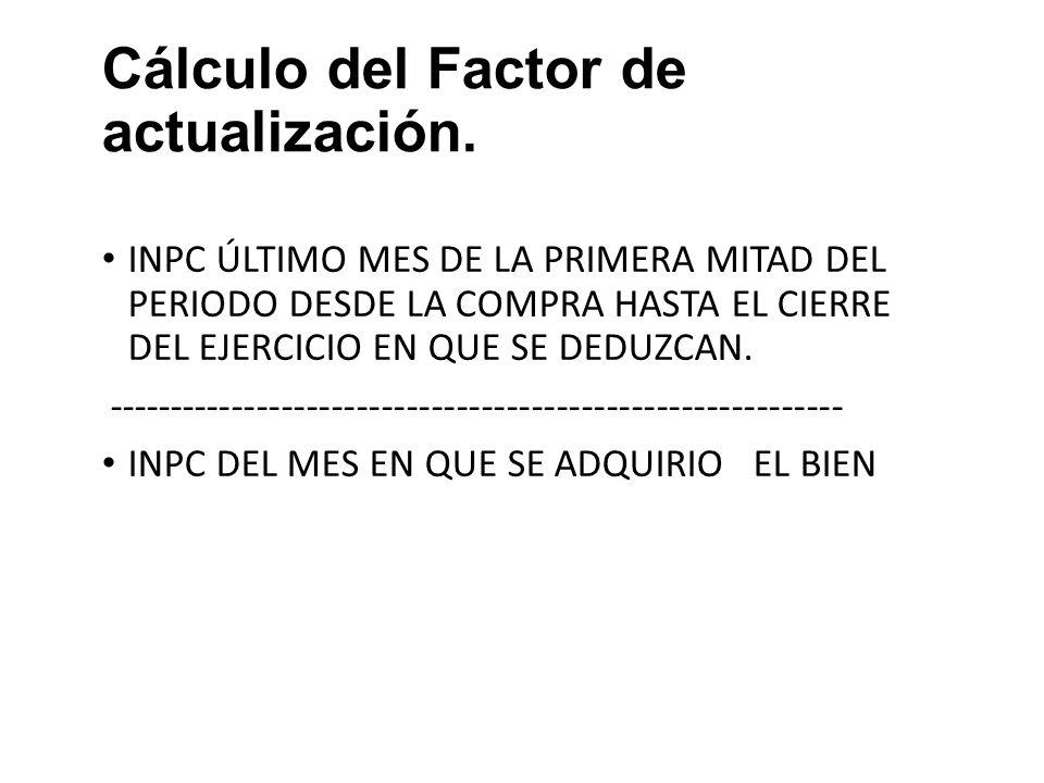 Cálculo del Factor de actualización.Art. 221 LISR FRACC.