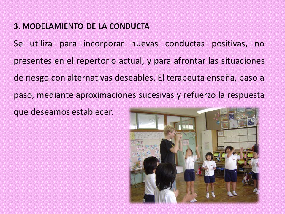 3. MODELAMIENTO DE LA CONDUCTA Se utiliza para incorporar nuevas conductas positivas, no presentes en el repertorio actual, y para afrontar las situac