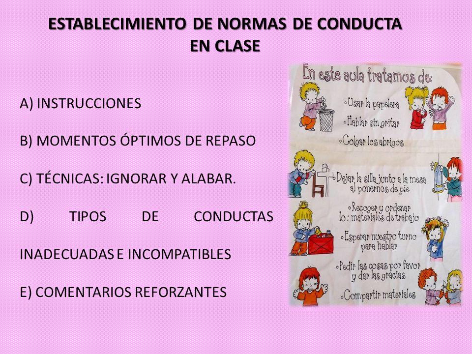 ESTABLECIMIENTO DE NORMAS DE CONDUCTA EN CLASE A) INSTRUCCIONES B) MOMENTOS ÓPTIMOS DE REPASO C) TÉCNICAS: IGNORAR Y ALABAR. D) TIPOS DE CONDUCTAS INA