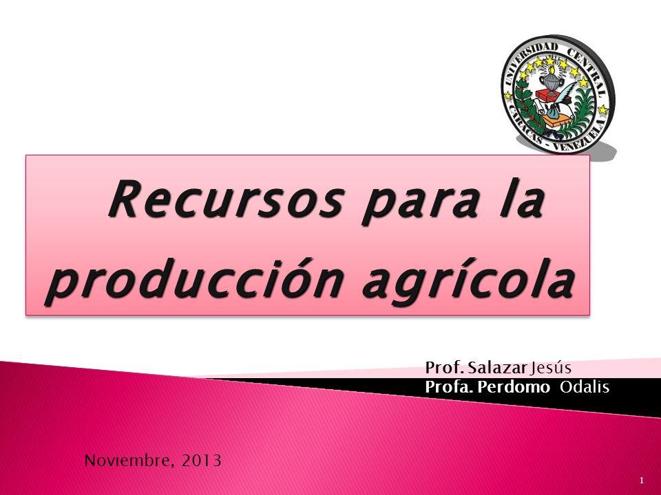 Recursos para la producción agrícola Recursos para la producción agrícola Prof. Salazar Jesús Profa. Perdomo Odalis Noviembre, 2013 1