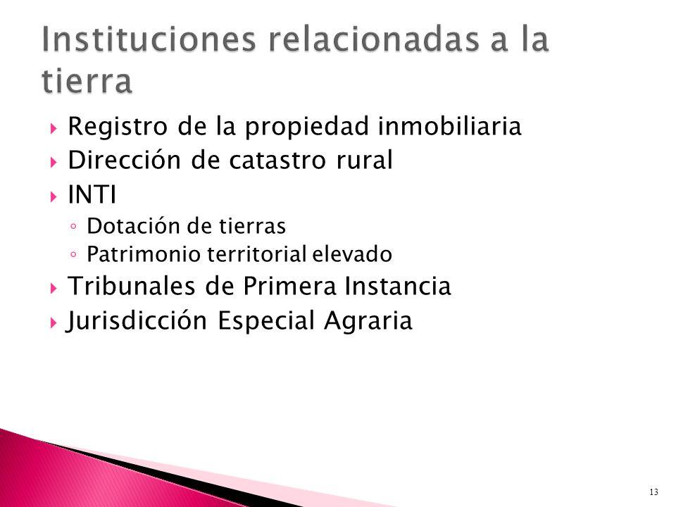 Registro de la propiedad inmobiliaria Dirección de catastro rural INTI Dotación de tierras Patrimonio territorial elevado Tribunales de Primera Instancia Jurisdicción Especial Agraria 13