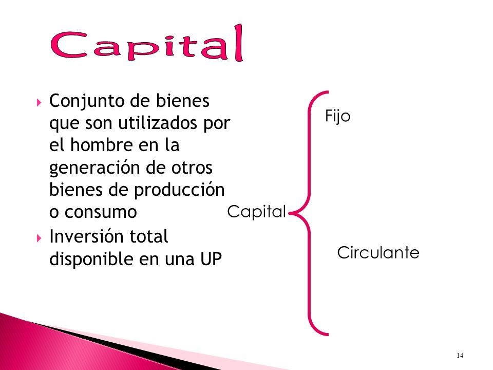Conjunto de bienes que son utilizados por el hombre en la generación de otros bienes de producción o consumo Inversión total disponible en una UP Capital Fijo Circulante 14